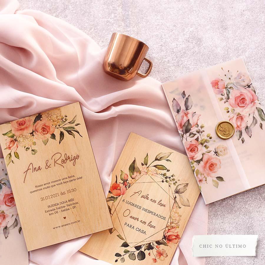 Blush translúcido - Convite de Madeira Quadro
