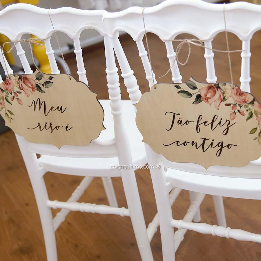 Blush - Placa cadeira noivos