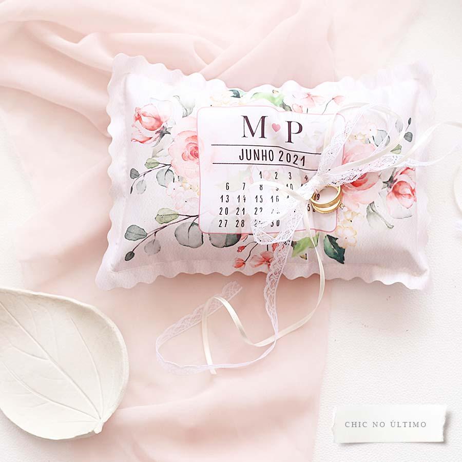 Blush - Porta Alianças de tecido calendário