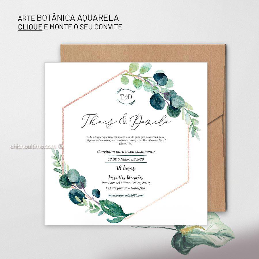 Botânica Aquarela - Convite Base