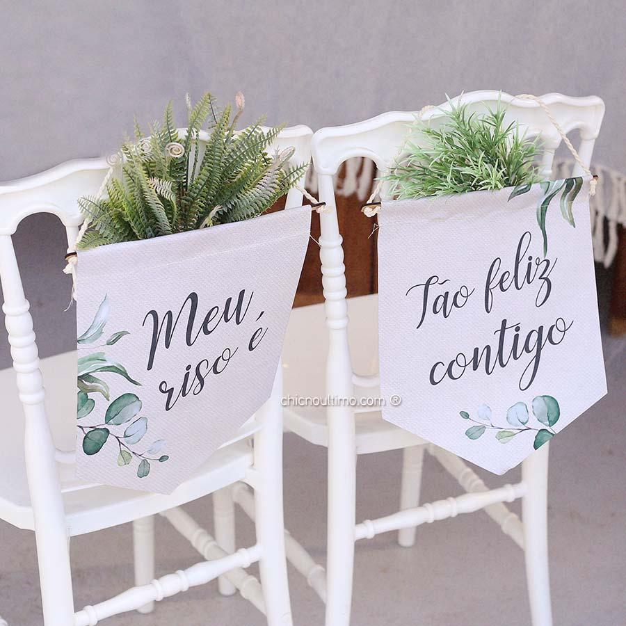 Botânica - Flâmula de tecido cadeira noivos