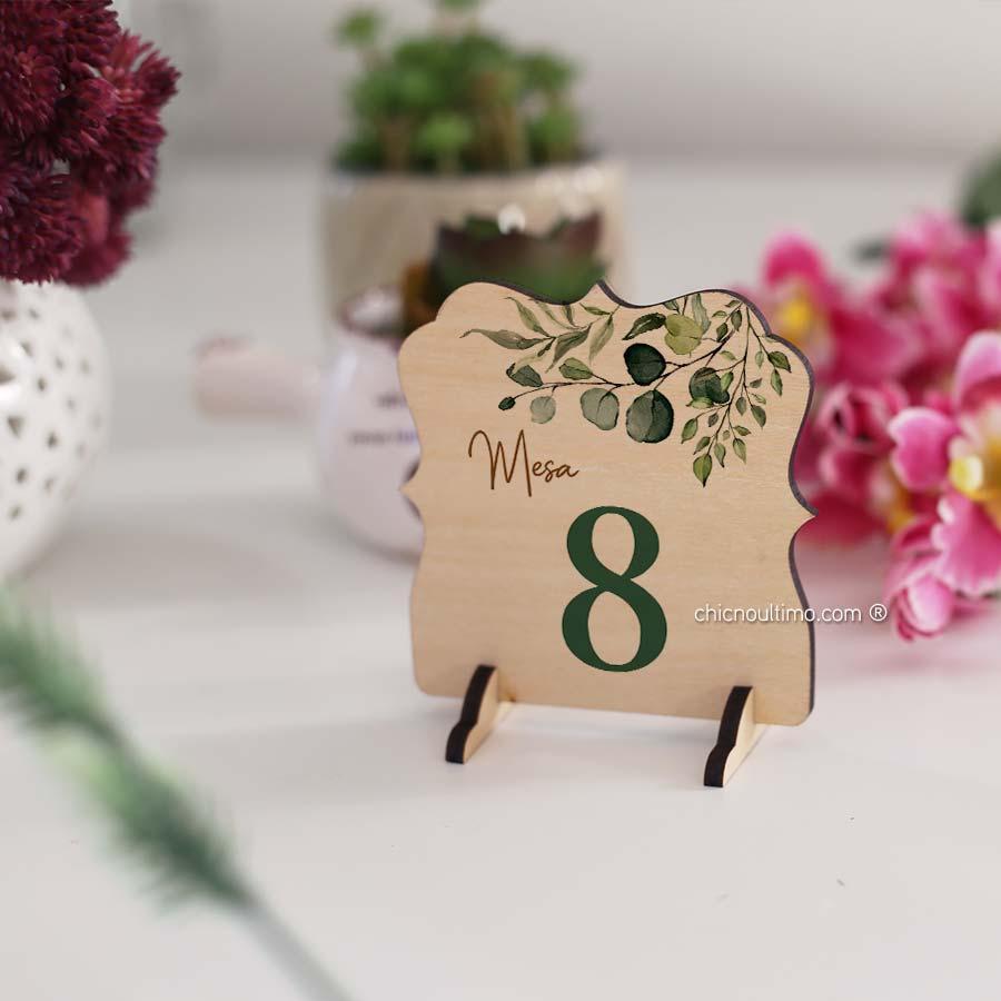 Botânica - Numeração de mesa madeira
