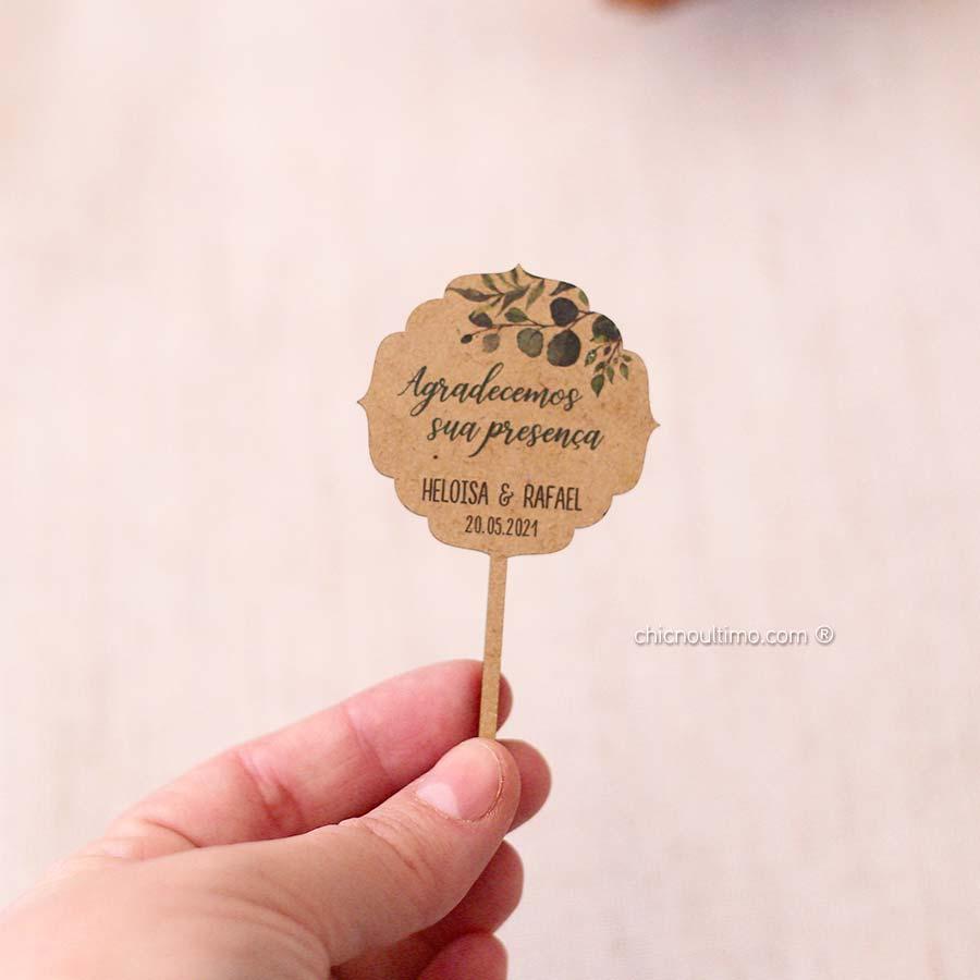 Botânica- Tag madeira lembrança - espetar