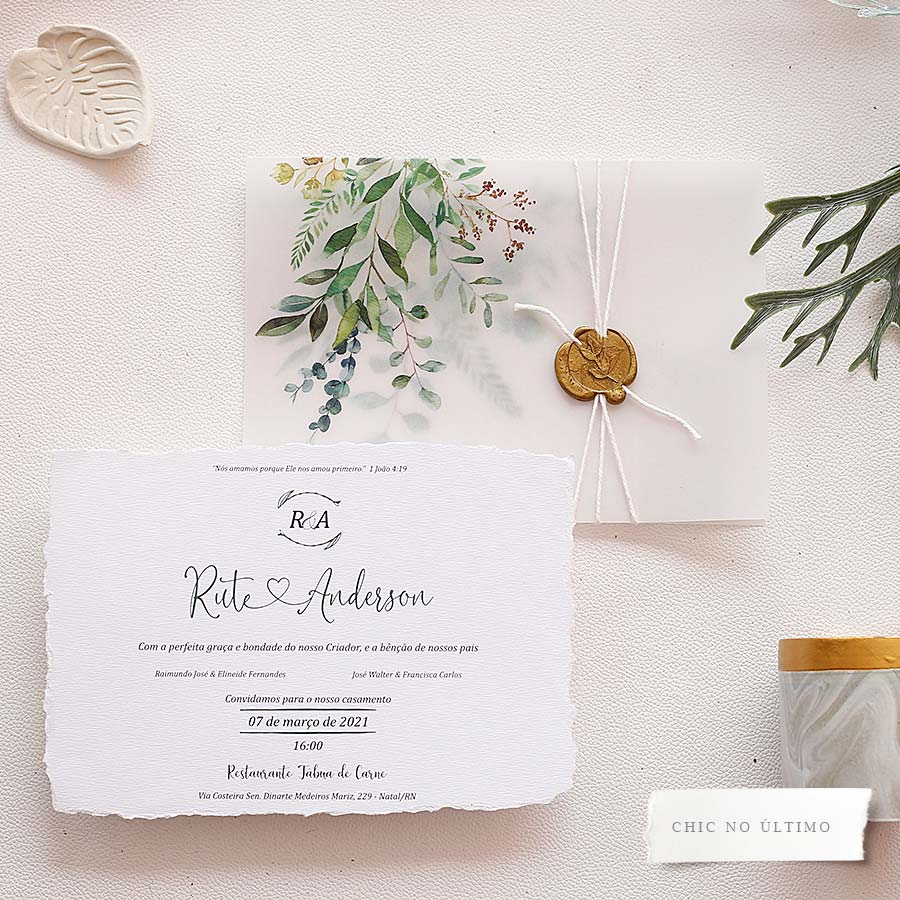 Botânica Translúcido - Convite Pronto