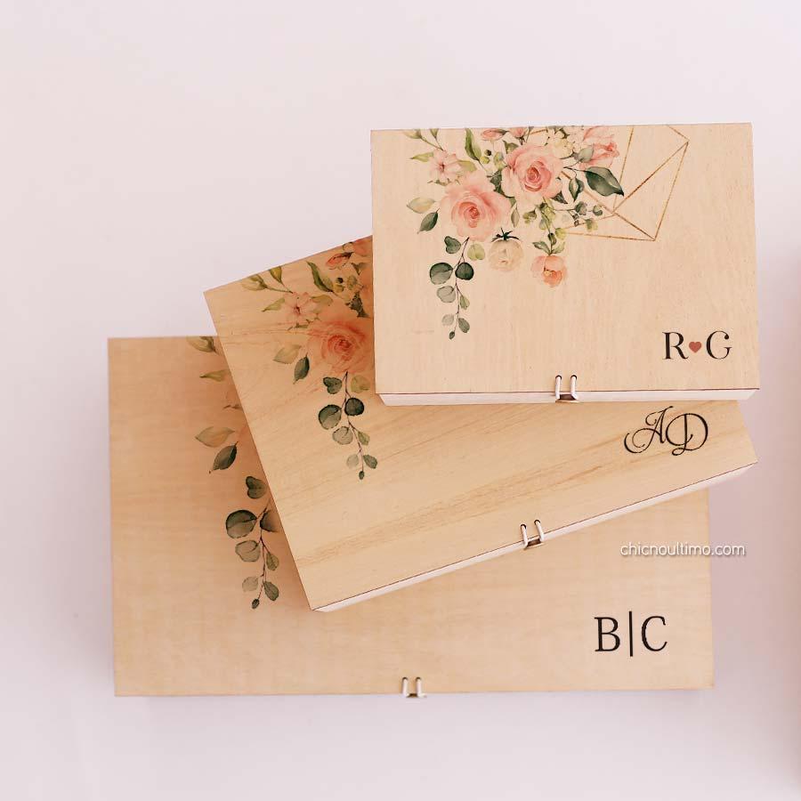 Caixa de madeira Blush - tamanhos variados