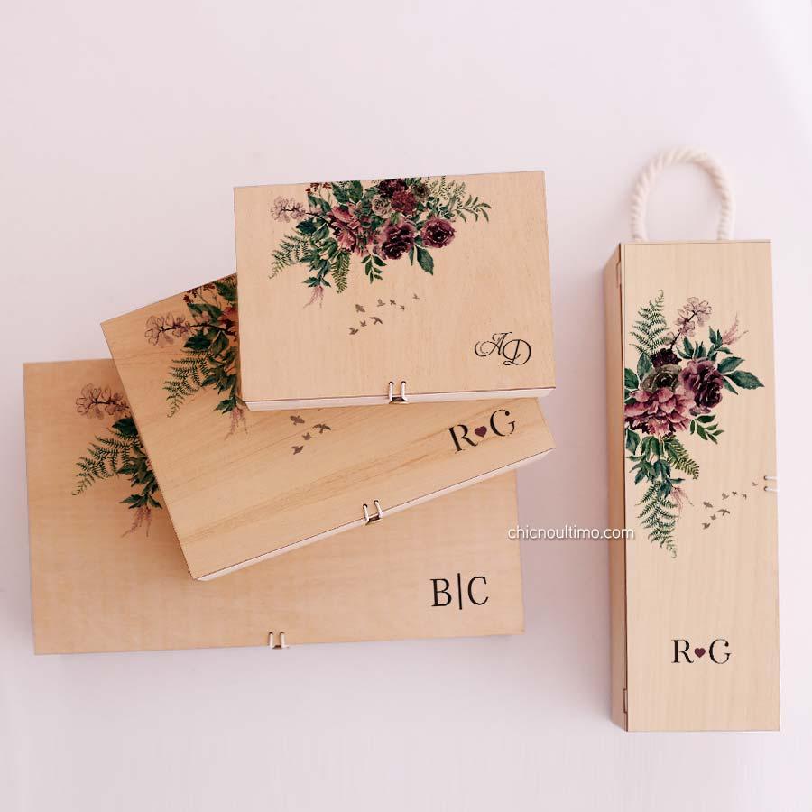 Caixa de madeira Folk - tamanhos variados