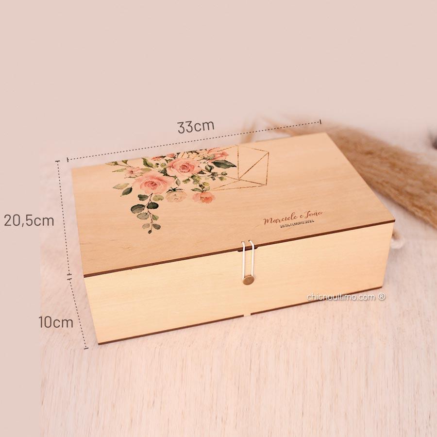 Caixa de madeira Grande 33x20,5cm - Estampas diversas