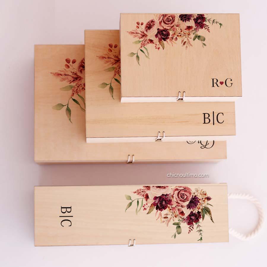 Caixa de madeira Marsala - tamanhos variados