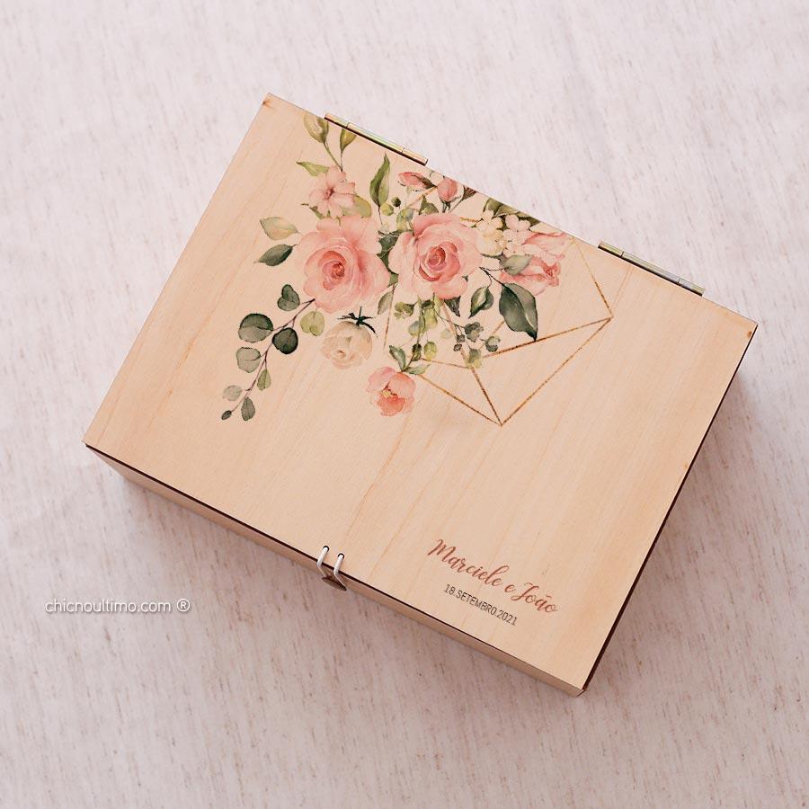 Caixa de madeira Média 24,5x18cm - Estampas diversas