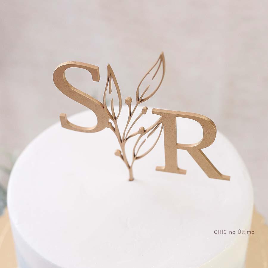 Campestre - Topo de bolo personalizado de madeira