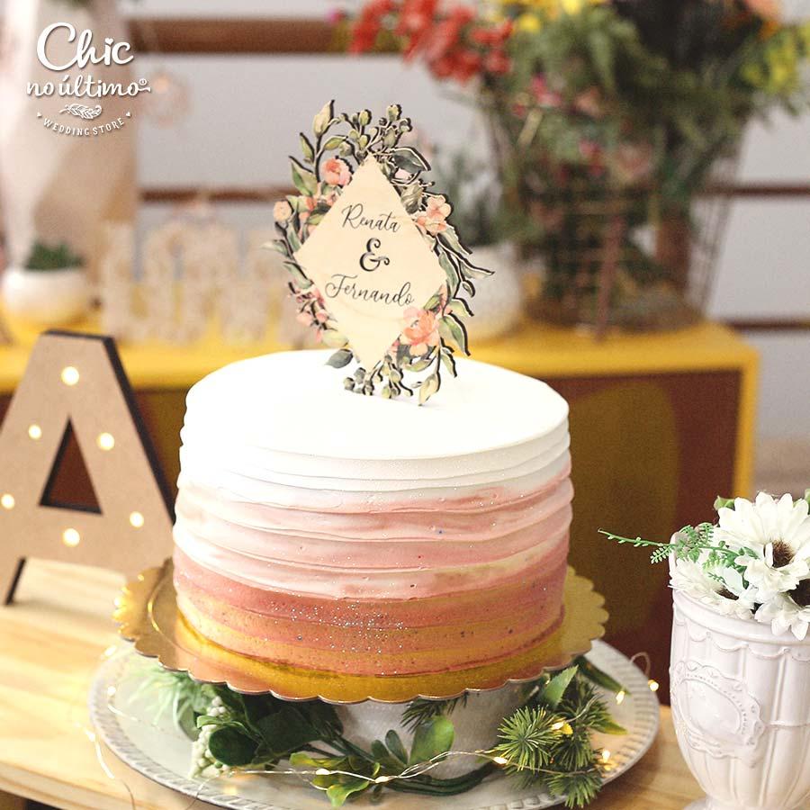 Coral - Topo de bolo estampado