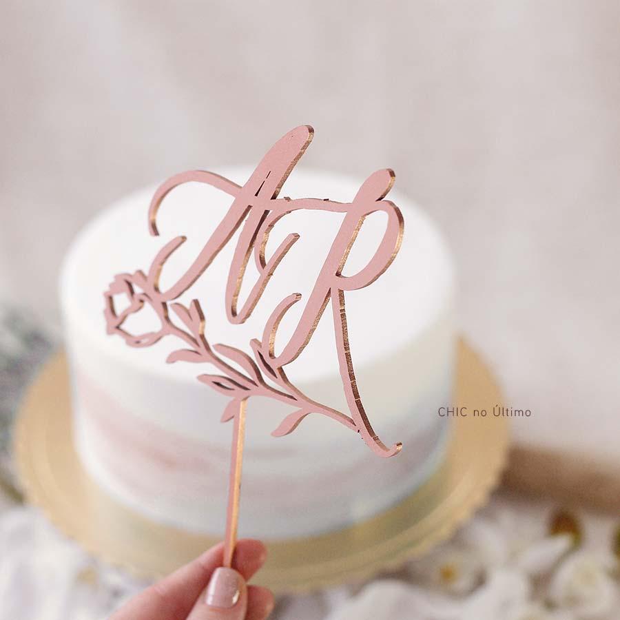 Flor - Topo de bolo personalizado de madeira