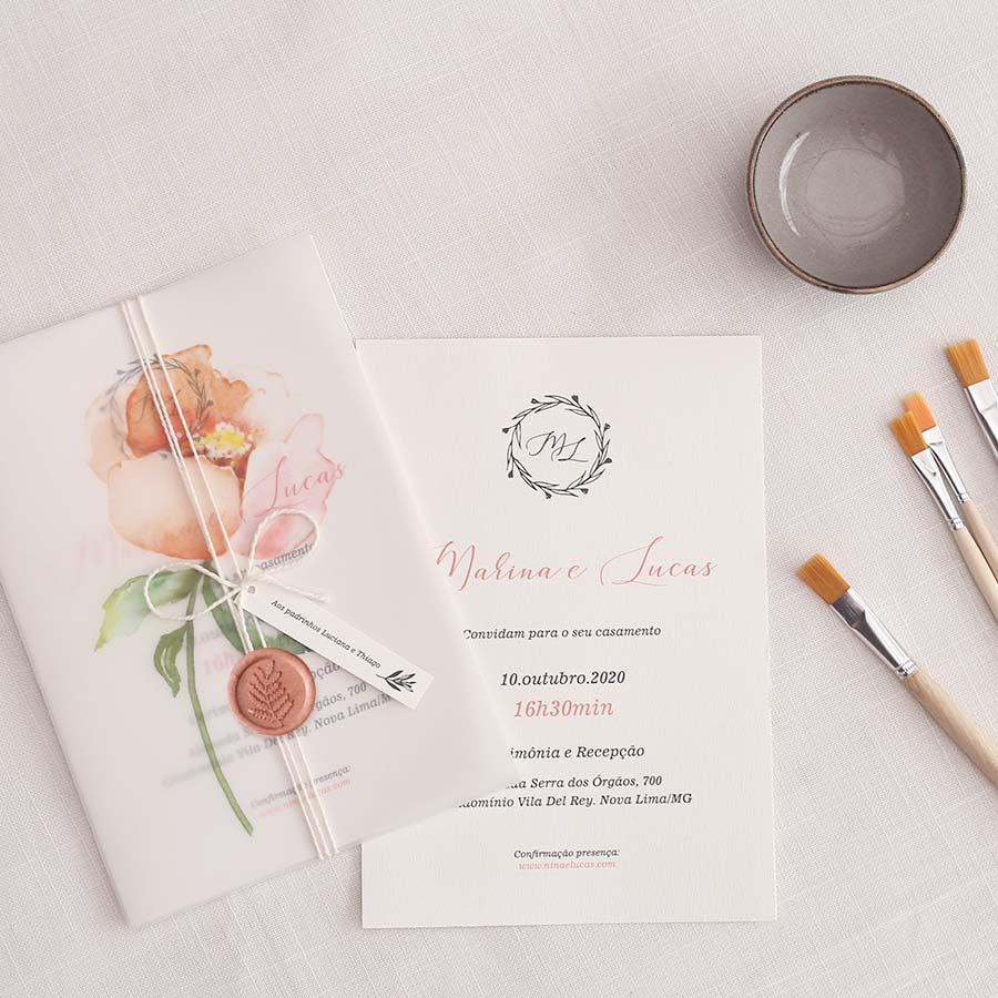 Flor Translúcido - Convite Completo