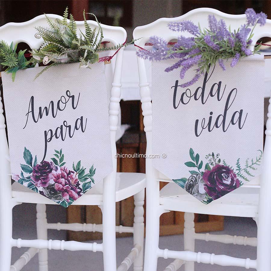 Folk - Flâmula de tecido cadeira noivos