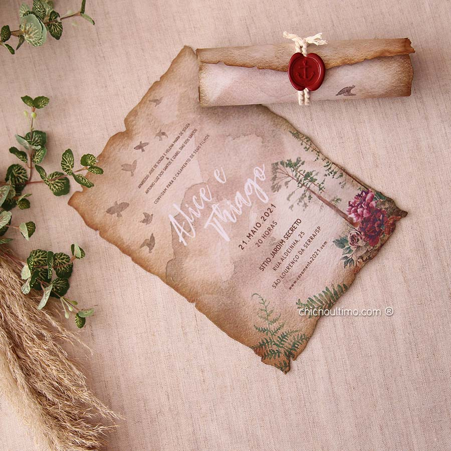 Folk Pergaminho - Convite Pronto
