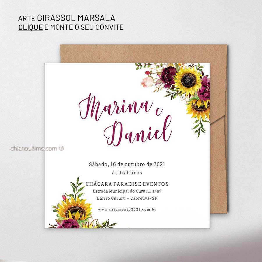 Girassol Marsala | convite para montar
