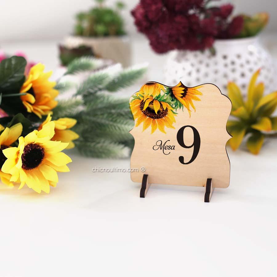 Girassol - Numeração de mesa madeira