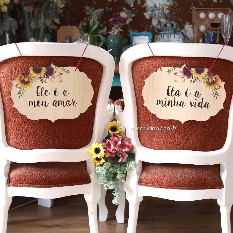 Girassol - Placa cadeira noivos