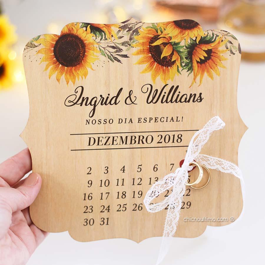 Girassol - Porta Alianças de madeira calendário