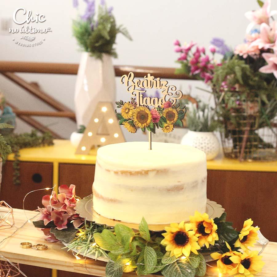 Girassol - Topo de bolo estampado