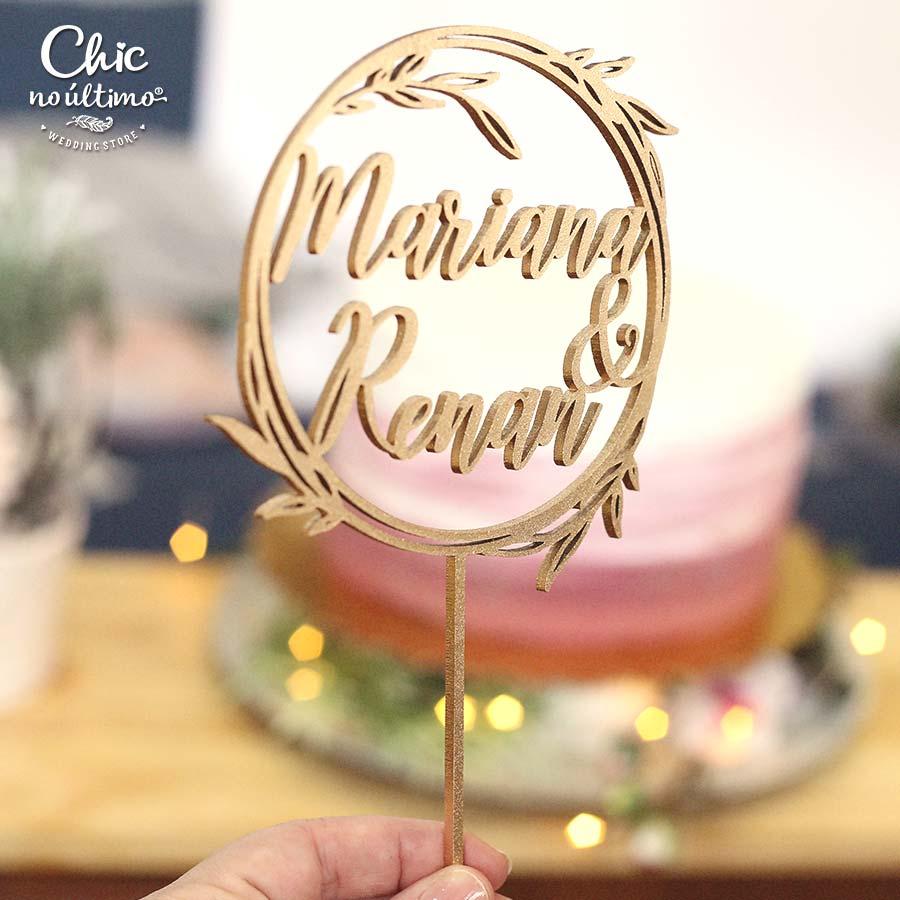 Glossy - Topo de bolo personalizado de madeira