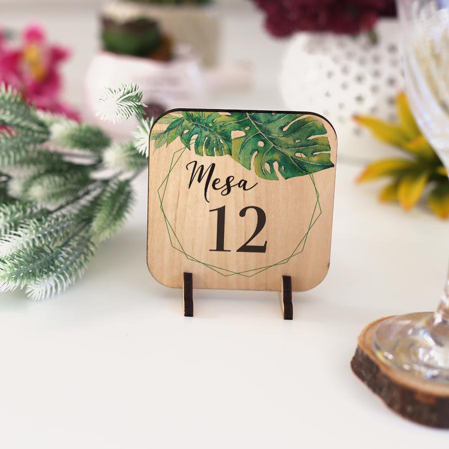 Greenery - Numeração de mesa madeira