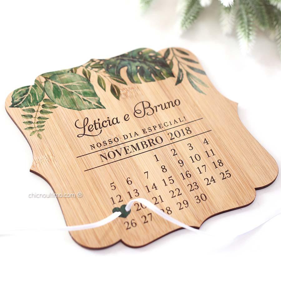 Greenery - Porta Alianças de madeira calendário