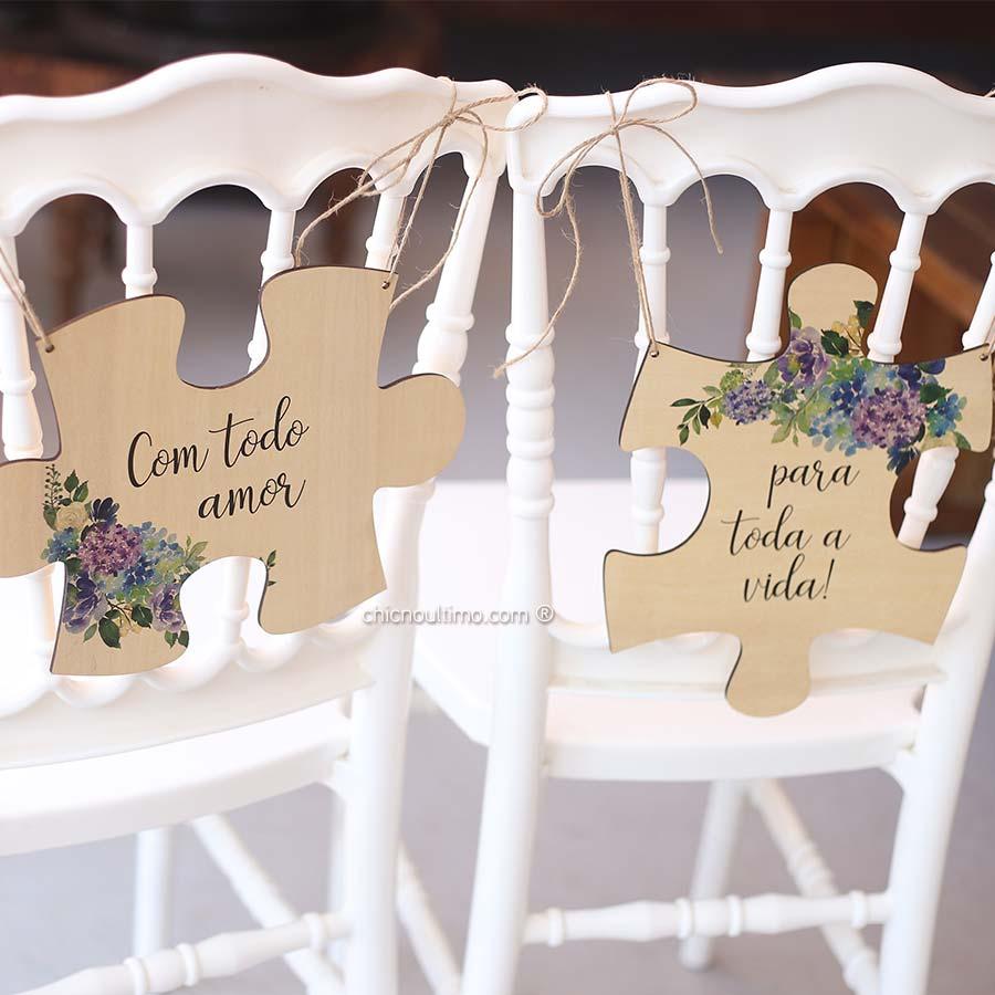 Hortências - Placa cadeira noivos quebra-cabeças