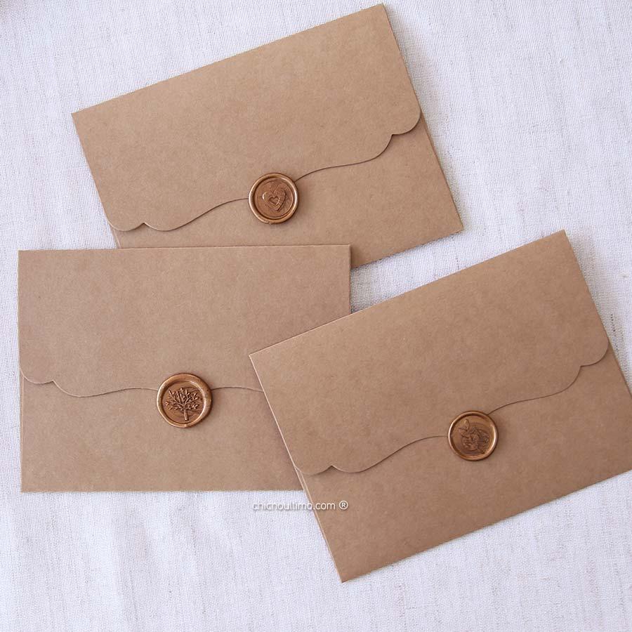 Kit | Envelope Kraft Vintage P 20x14,5cm + Lacre de cera Bronze