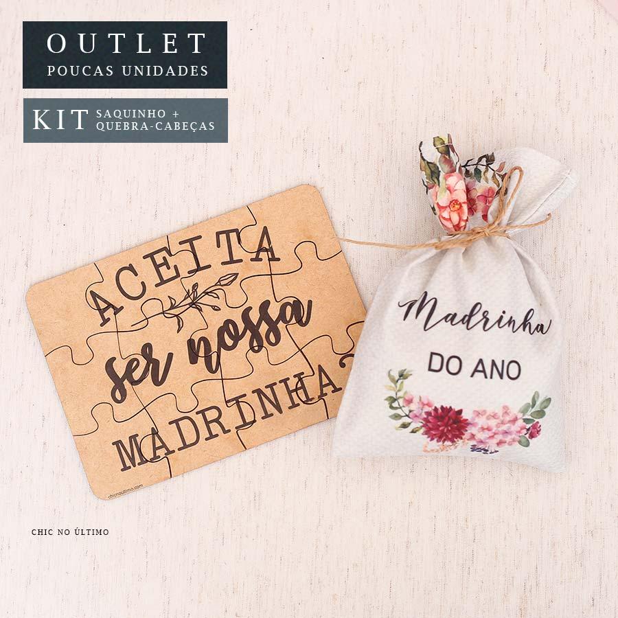Kit Madrinha | Saquinho + Quebra-cabeças Borgonia