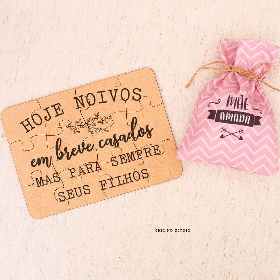 Kit Mãe   Saquinho + Quebra-cabeças Rosa