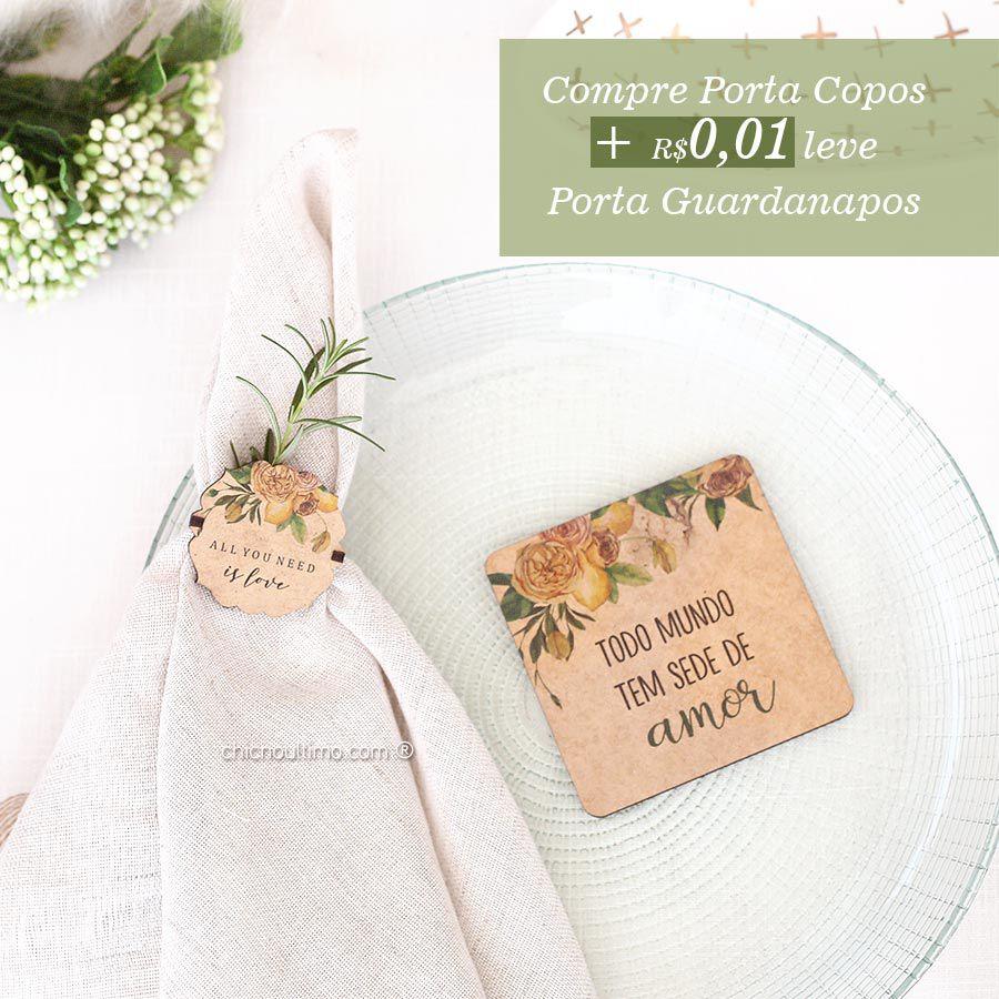 Kit Mesa Lemon: Compre Porta Copos + 0,01 leve Porta Guardanapos