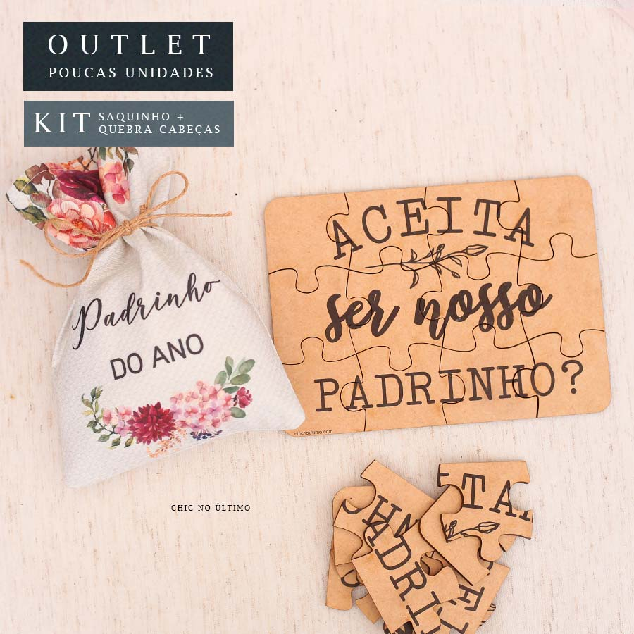 Kit Padrinho   Saquinho + Quebra-cabeças Borgonia