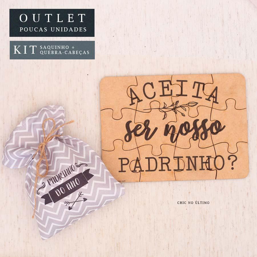 Kit Padrinho | Saquinho + Quebra-cabeças Chevron