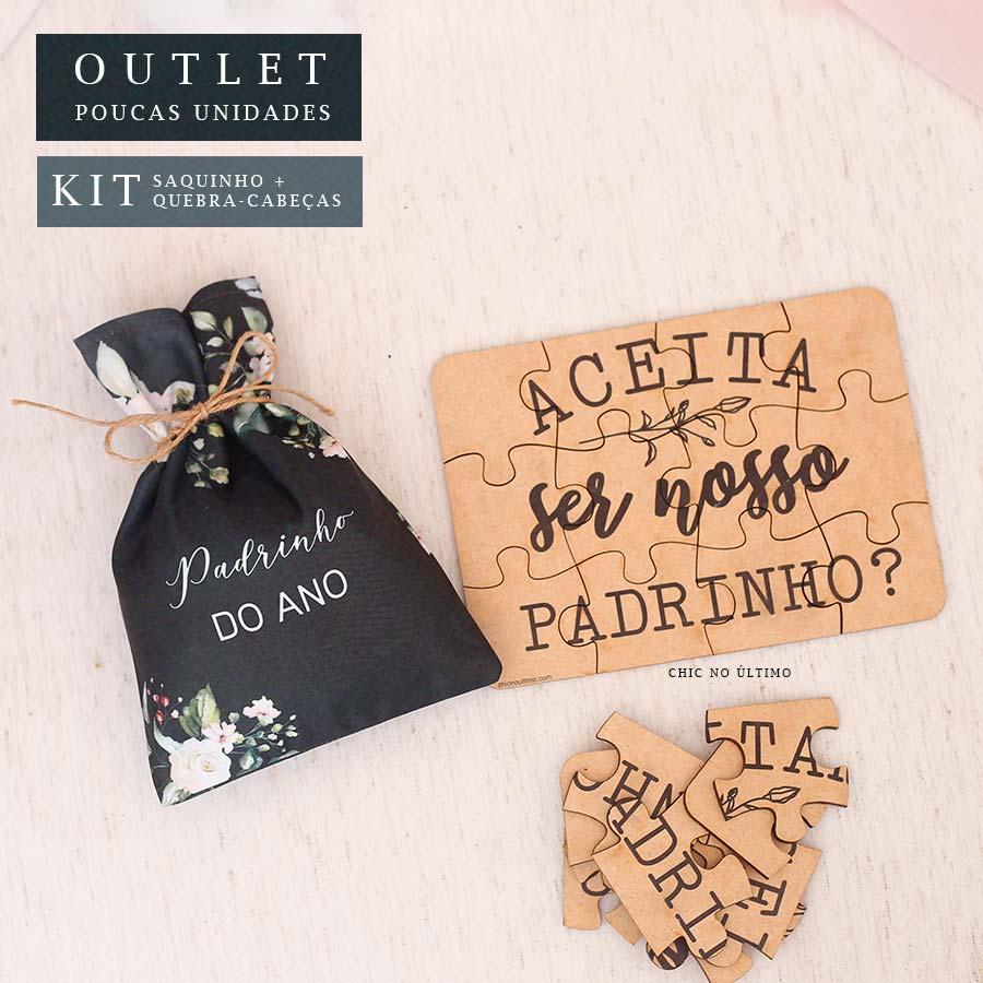 Kit Padrinho | Saquinho + Quebra-cabeças Lousa