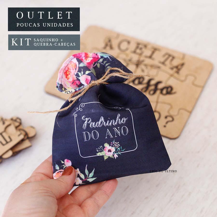Kit Padrinho | Saquinho + Quebra-cabeças Lousa Floral