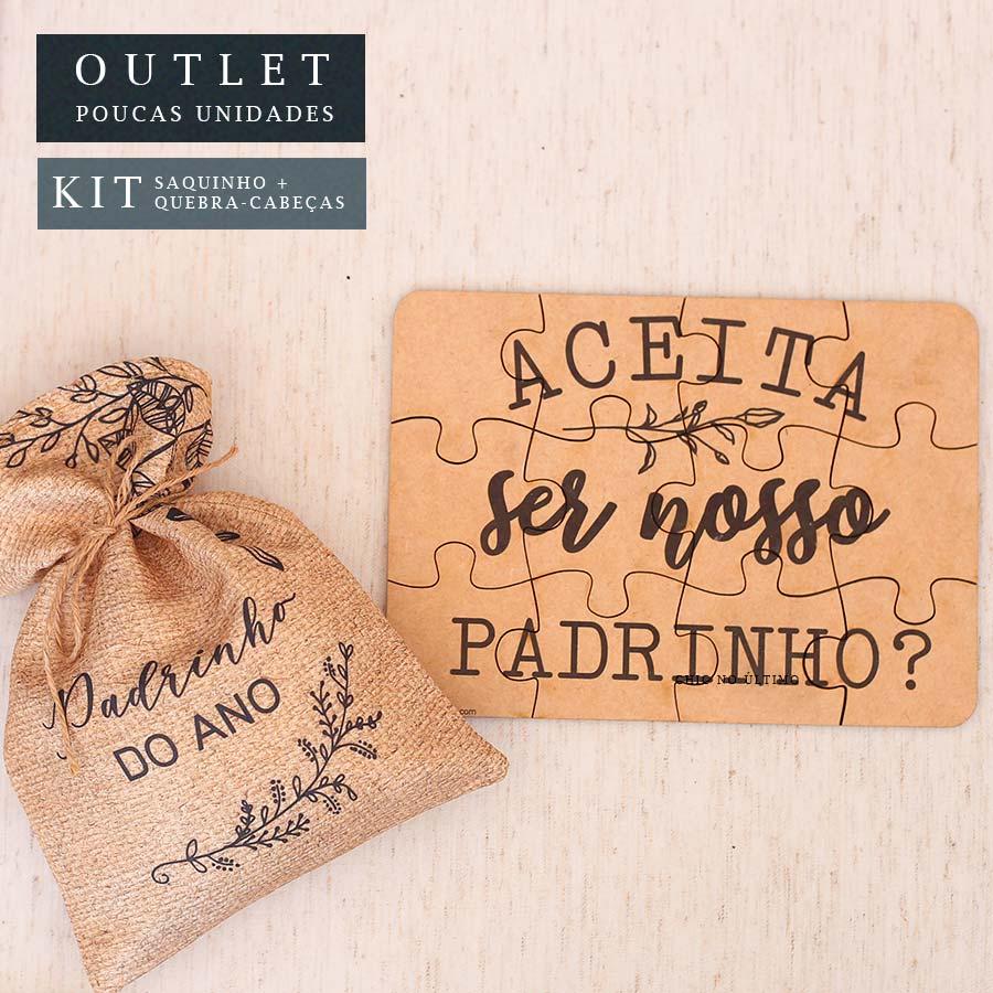 Kit Padrinho | Saquinho + Quebra-cabeças Palha