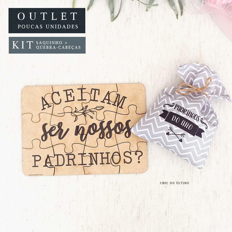 Kit Padrinhos | Saquinho + Quebra-cabeças Cinza