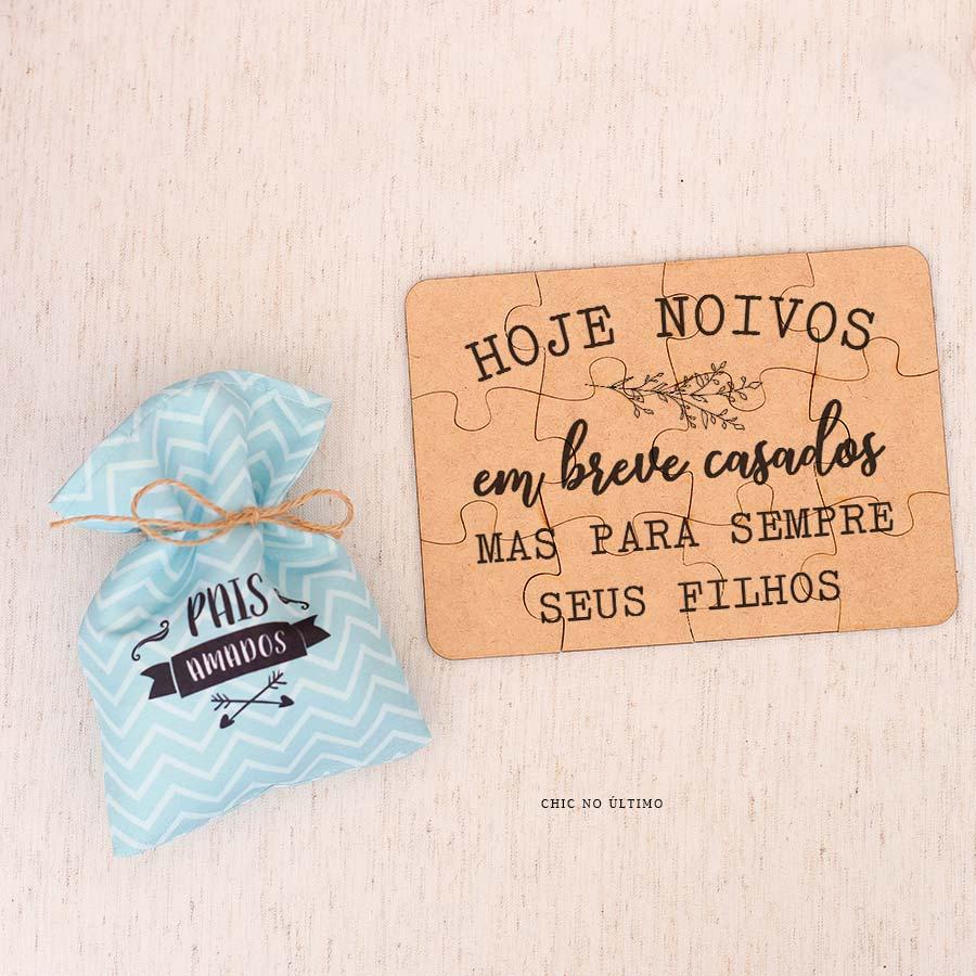 Kit Pais  Saquinho + Quebra-cabeças Azul