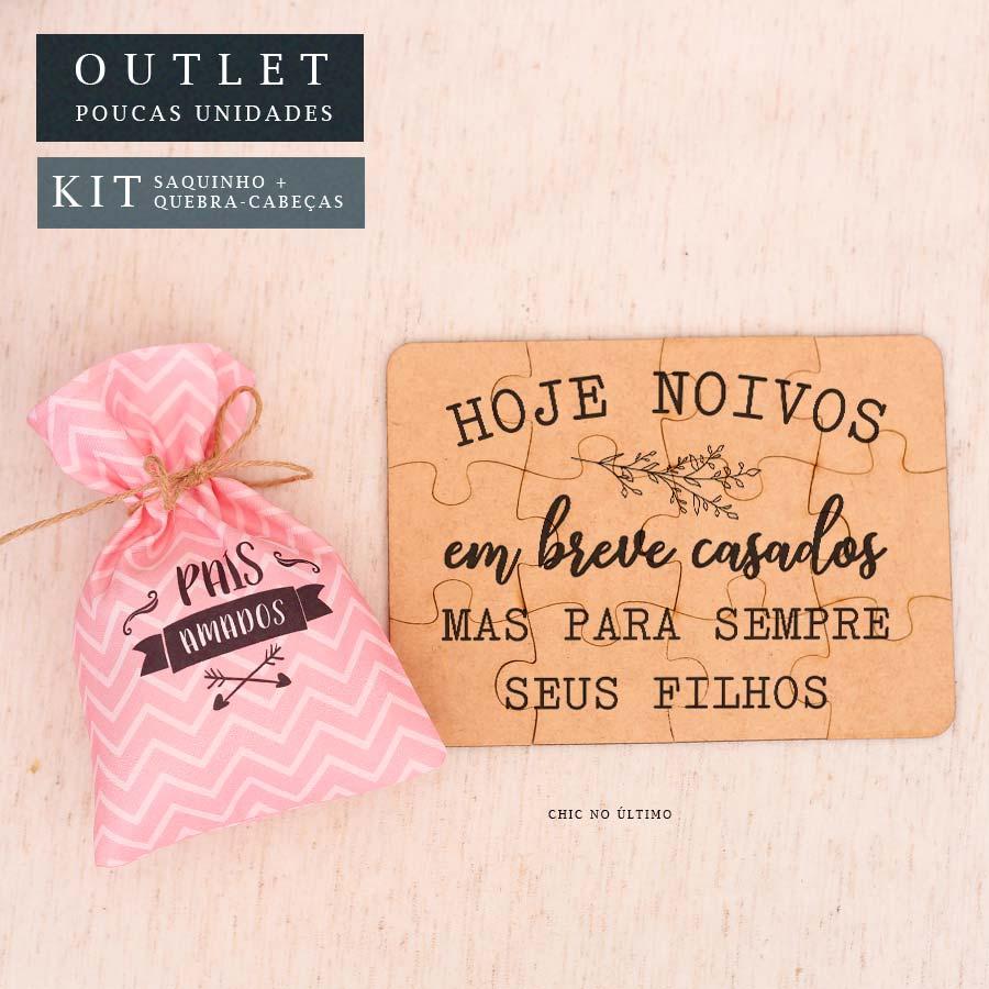 Kit Pais| Saquinho + Quebra-cabeças Rosa