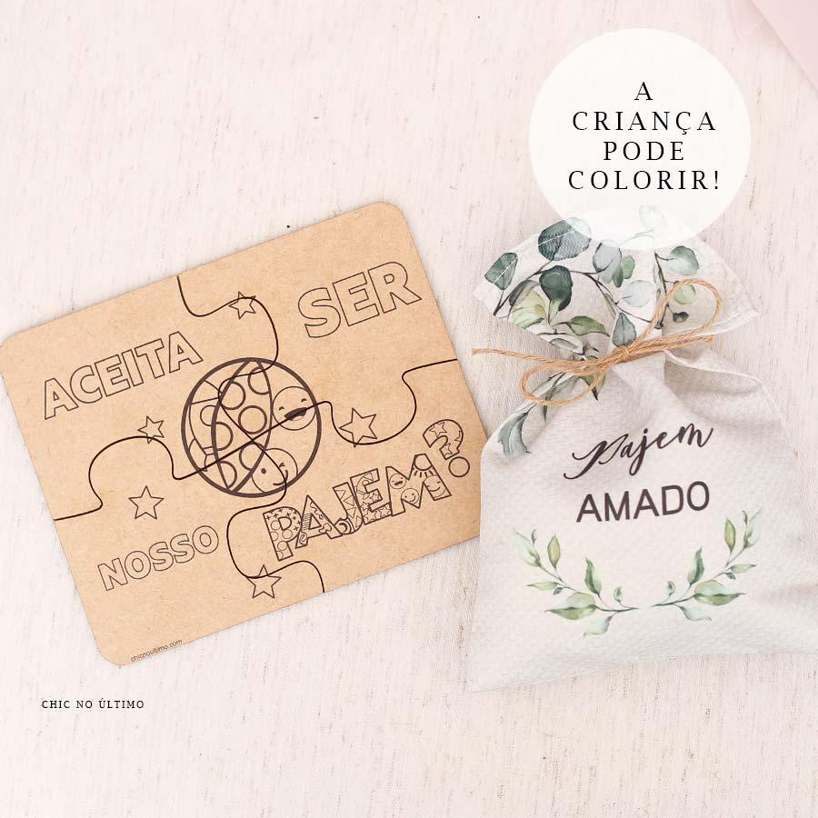 Kit Pajem   Saquinho + Quebra-cabeças Botanica