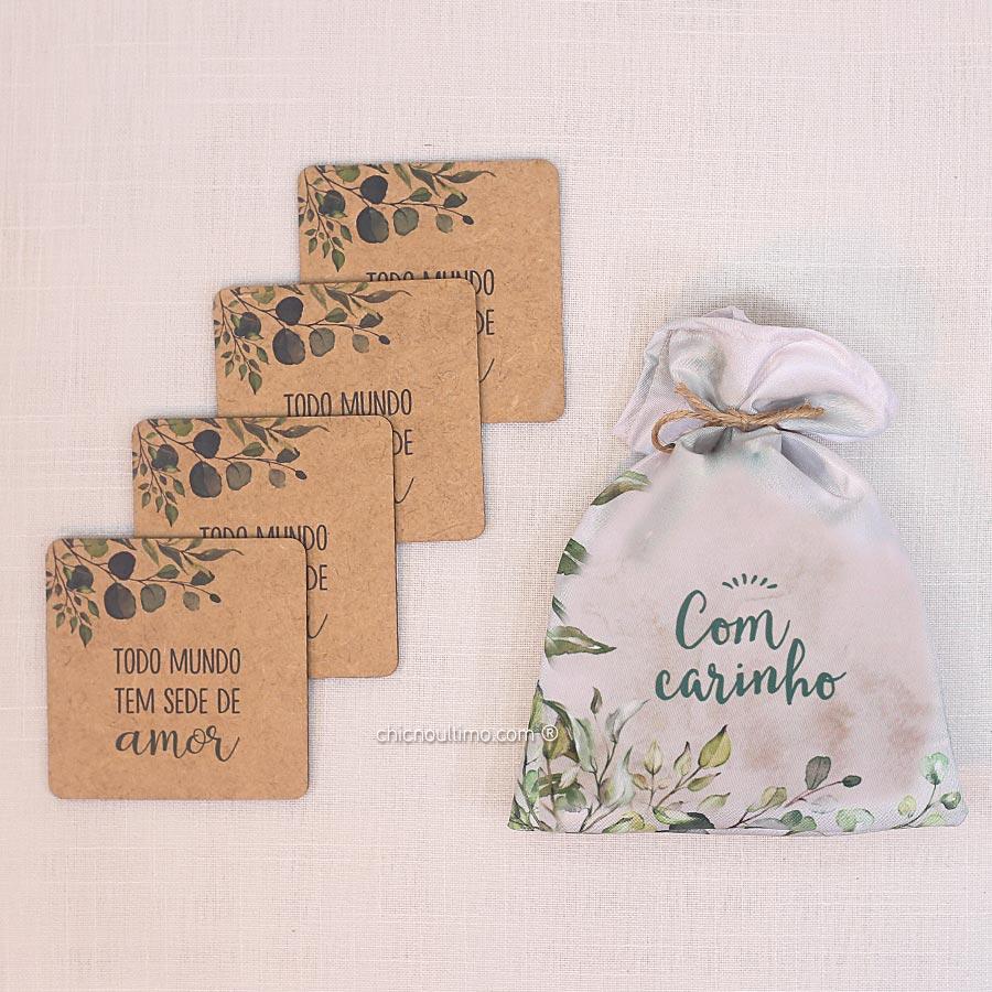 Kit Presente Botanica - Porta Copos + Saquinho