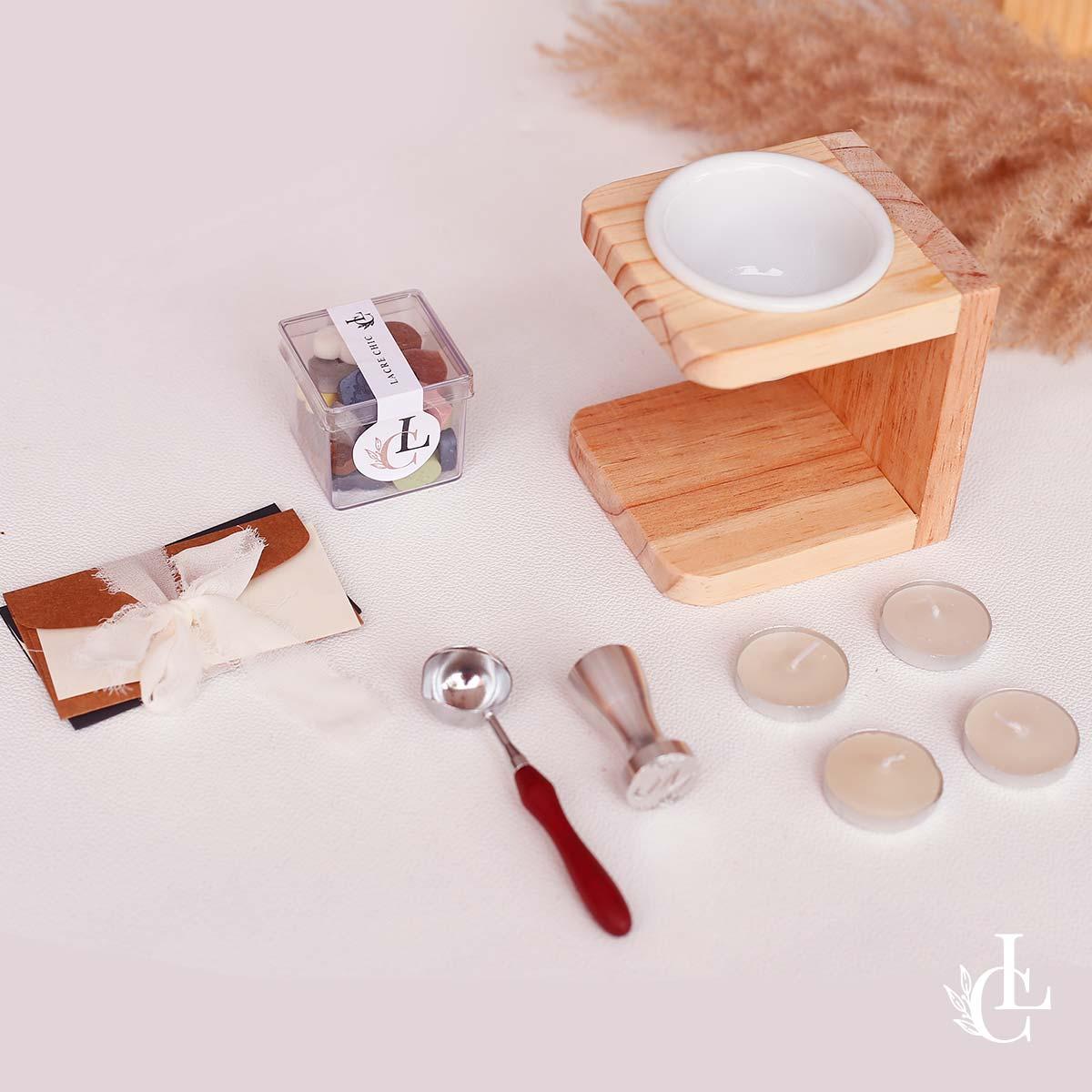 Kit lacre de cera padrão - Sinete, cera, colher dosadora e derretedeira
