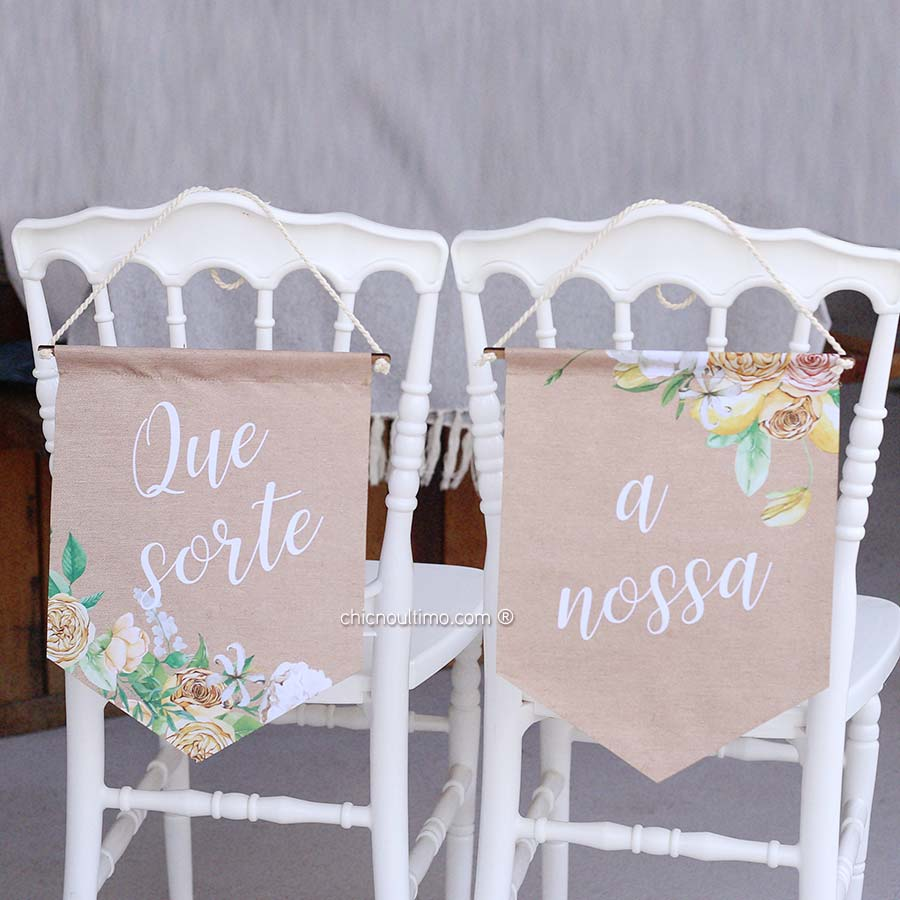 Lémon - Flâmula de tecido cadeira noivos