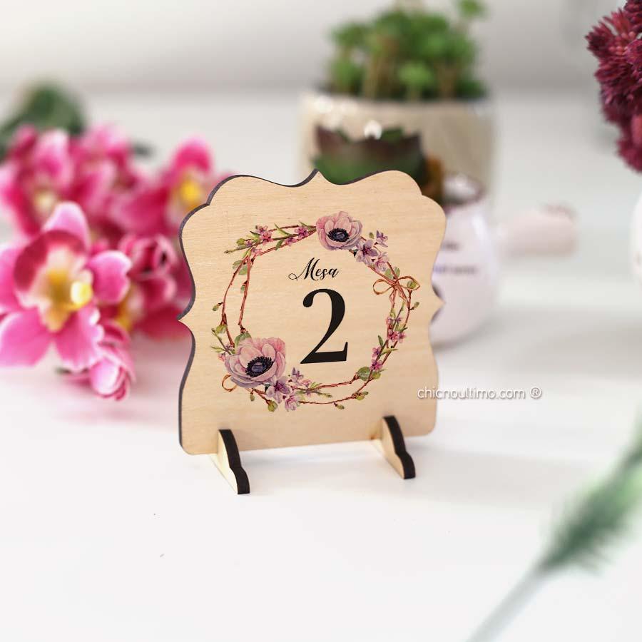 Lilac - Numeração de mesa madeira