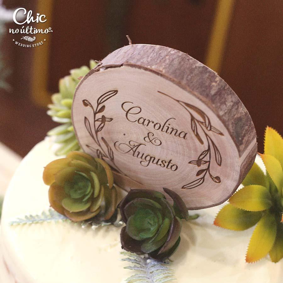 Lovely - Topo de bolo personalizado - tronco de madeira