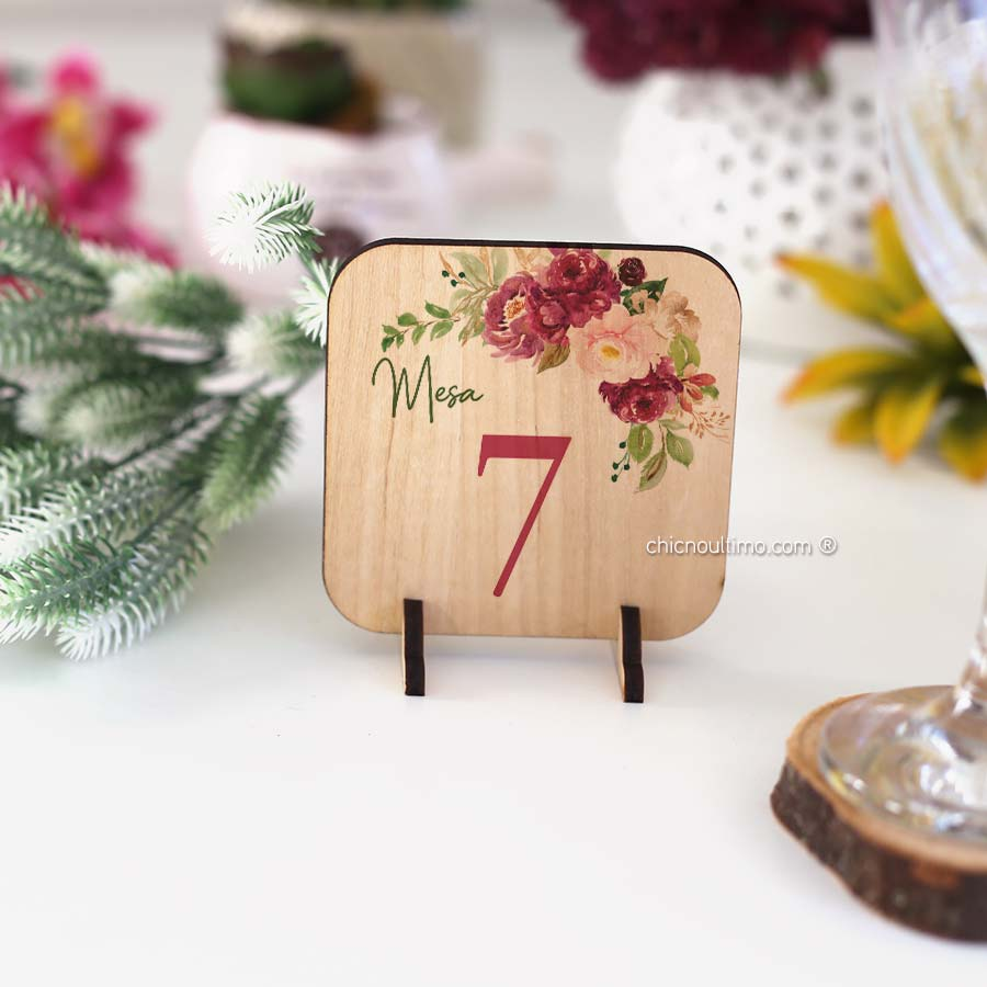 Marsala - Numeração de mesa madeira