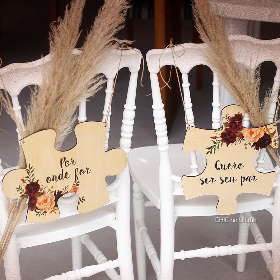 Marsala - Placa cadeira noivos quebra-cabeças