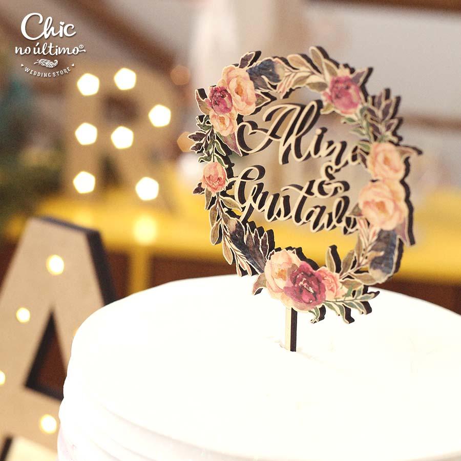 Marsala - Topo de bolo estampado