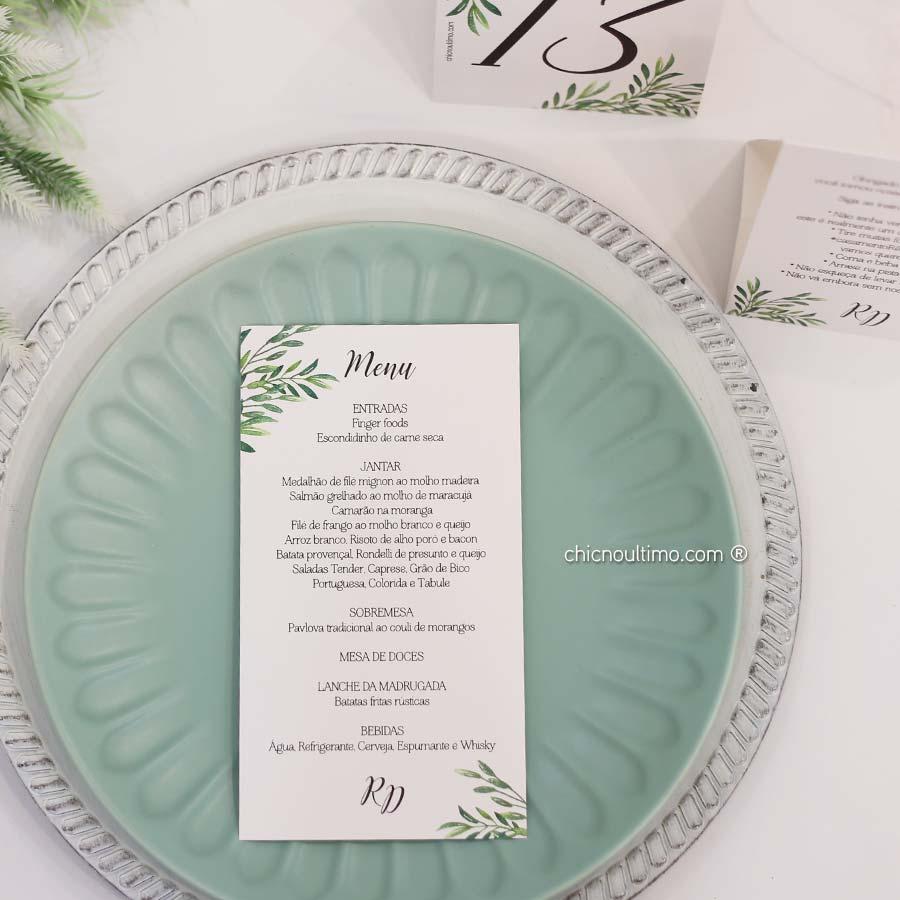 Menu 11x24cm - papelaria exclusiva dos convites